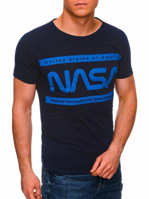 Tamsiai mėlyni vyriški marškinėliai su užrašu nasa internetu pigiau S1437 18712-2