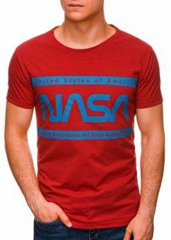 Raudoni vyriški marškinėliai su užrašu nasa internetu pigiau S1437 18713-1