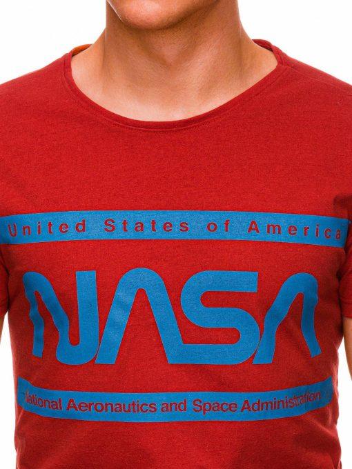 Raudoni vyriski marskineliai su uzrasais nasa internetu pigiau S1437 18713-2