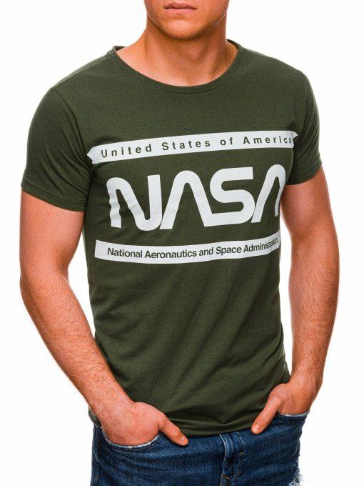 Chaki vyriški marškinėliai su užrašu nasa internetu pigiau S1437 18714-2