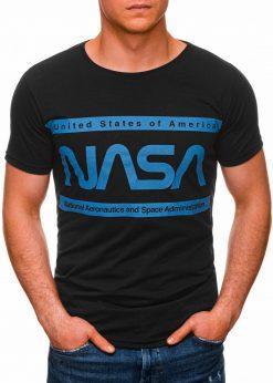 Juodi vyriški marškinėliai su užrašu nasa internetu pigiau S1437 18715-2