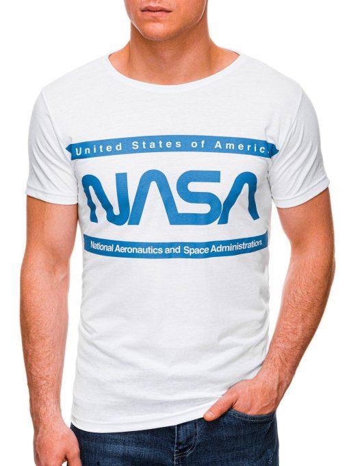Balti vyriški marškinėliai su užrašu nasa internetu pigiau S1437 18716-1