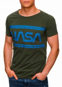 Žali vyriški marškinėliai su užrašu nasa internetu pigiau S1437 18717-4
