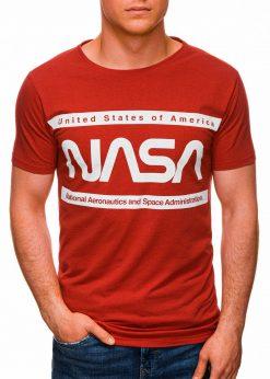 Raudoni vyriški marškinėliai su užrašu nasa internetu pigiau S1437 18718-2