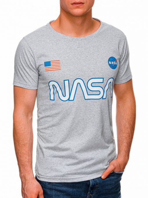 Pilki vyriški marškinėliai su užrašu nasa internetu pigiau S1437 18726-2