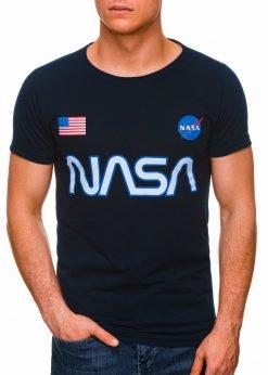 Tamsiai mėlyni vyriški marškinėliai su užrašu nasa internetu pigiau S1437 18727-2