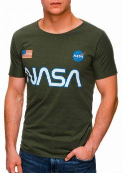 Žali vyriški marškinėliai su užrašu nasa internetu pigiau S1437 18728-4