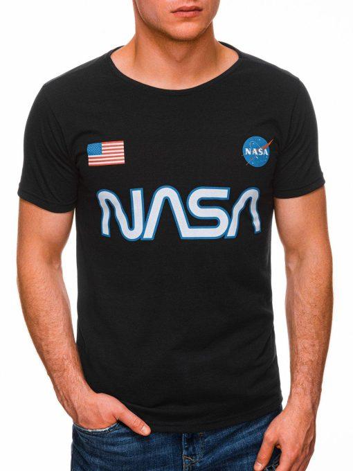 Juodi vyriški marškinėliai su užrašu nasa internetu pigiau S1437 18729-2
