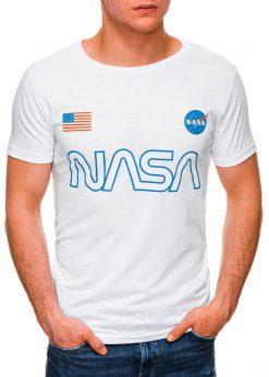 Balti vyriški marškinėliai su užrašu nasa internetu pigiau S1437 18730-2