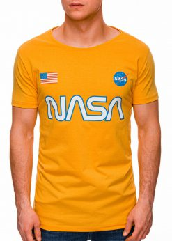 Geltoni vyriški marškinėliai su užrašu nasa internetu pigiau S1437 18731-1