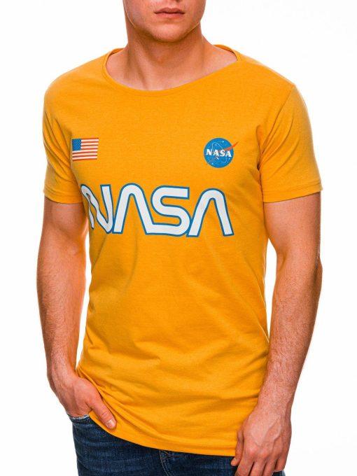 Geltoni marskineliai vyrams su uzrasu nasa internetu pigiau S1437 18731-3