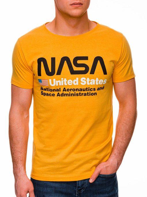 Geltoni vyriški marškinėliai su užrašu nasa internetu pigiau S1437 18742-3