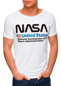 Balti vyriški marškinėliai su užrašu nasa internetu pigiau S1437 18743-2