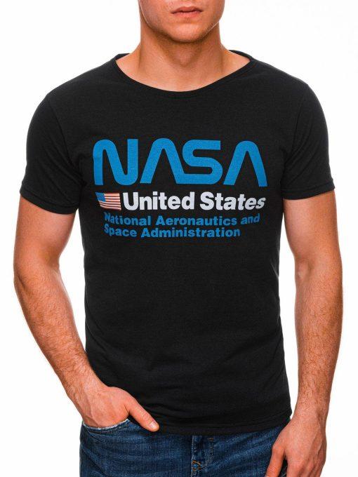 Juodi vyriški marškinėliai su užrašu nasa internetu pigiau S1437 18744-2