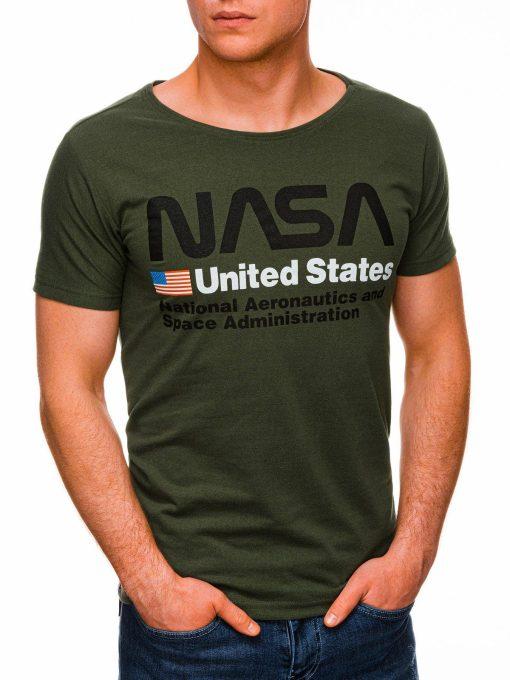 Chaki vyriški marškinėliai su užrašu nasa internetu pigiau S1437 18745-3