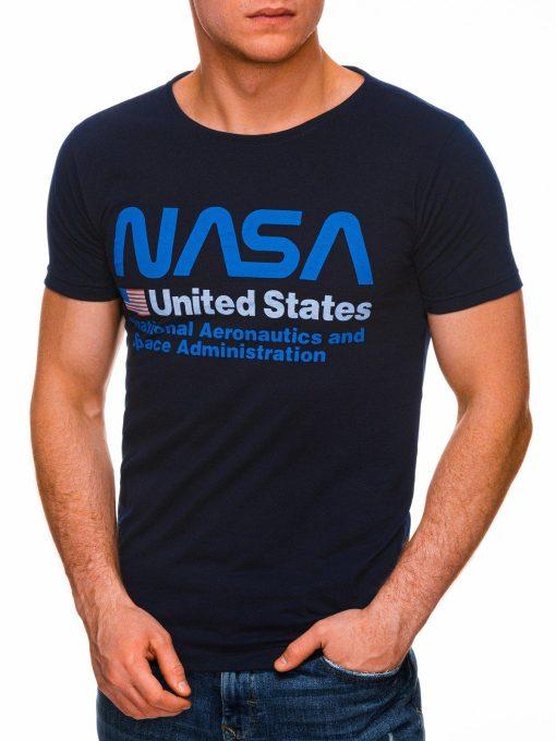 Tamsiai mėlyni vyriški marškinėliai su užrašu nasa internetu pigiau S1437 18746-2