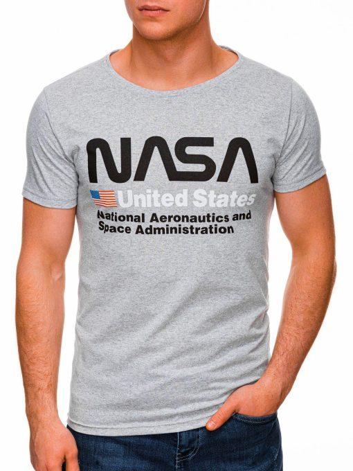 Pilki vyriški marškinėliai su užrašu nasa internetu pigiau S1437 18747-2