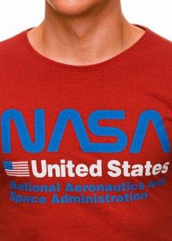 Raudoni vyriski marskineliai su uzrasais nasa internetu pigiau S1437 18750-1