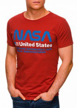 Raudoni vyriški marškinėliai su užrašu nasa internetu pigiau S1437 18750-2