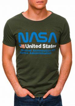 Žali vyriški marškinėliai su užrašu nasa internetu pigiau S1437 18751-2