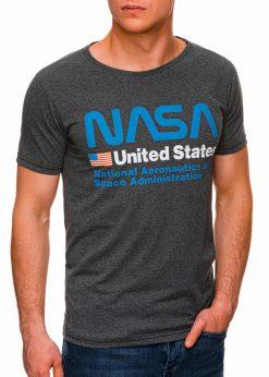 Tamsiai pilki vyriški marškinėliai su užrašu nasa internetu pigiau S1437 18752-4