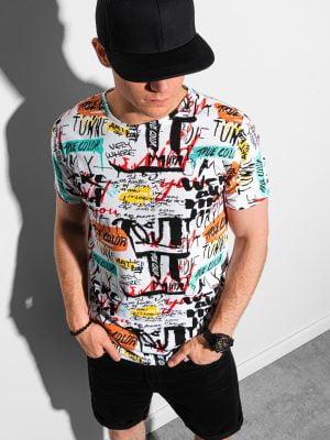 Balti vyriški marškinėliai su užrašais internetu pigiau S1418 18956-3