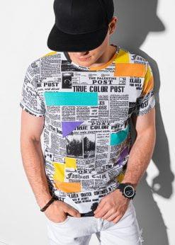 Balti vyriški marškinėliai su užrašais internetu pigiau S1409 18978-1