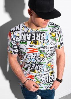 Balti vyriški marškinėliai su užrašais internetu pigiau S1410 18979-1