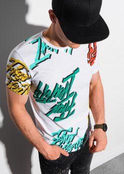 Balti vyriški marškinėliai su užrašais internetu pigiau S1413 18980-1