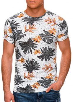 Balti-oranžiniai gėlėti vyriški marškinėliai internetu pigiau S1283 15002-1