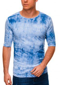 Mėlyni vyriški marškinėliai su prailgintomis rankovėmis internetu pigiau S1339 15630-3