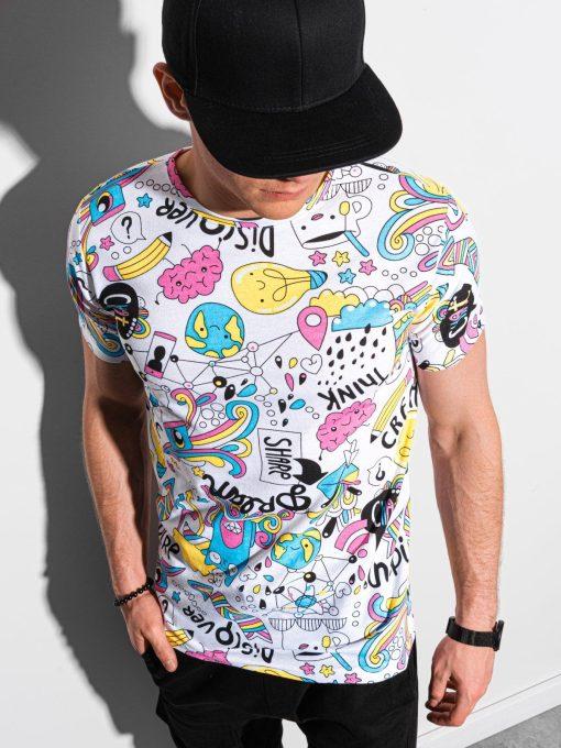 Balti vyriški marškinėliai su užrašais internetu pigiau S1421 18989-1