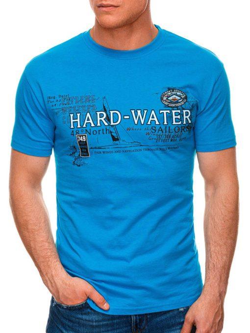 Žydri vyriški marškinėliai su užrašu internetu pigiau S1431 19079-1