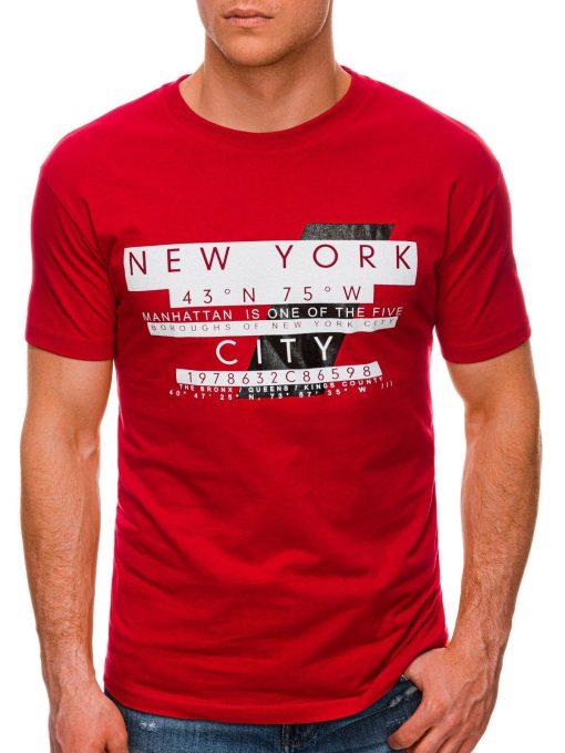 Raudoni vyriški marškinėliai su užrašu internetu pigiau S1432 19082-1