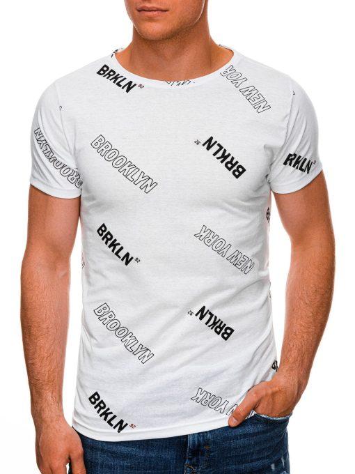 Balti vyriški marškinėliai su užrašais internetu pigiau S1439 19084-1