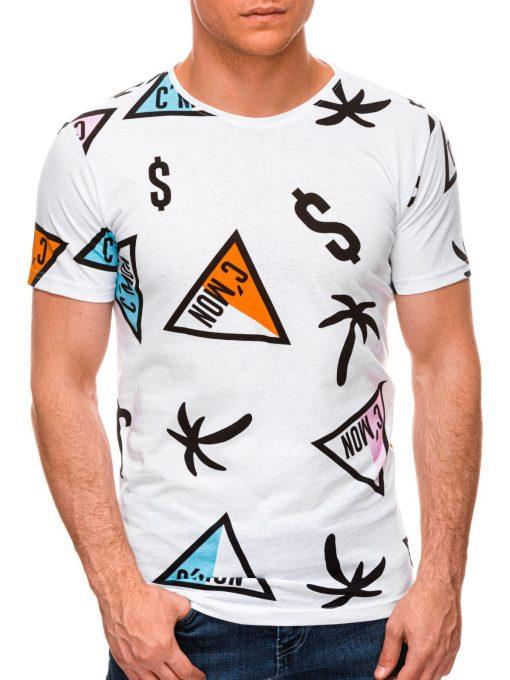 Balti vyriški marškinėliai su aplikacijomis internetu S1441 19086-1