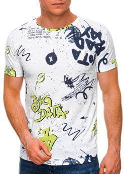 Balti vyriški marškinėliai su užrašais internetu pigiau S1444 19089-2