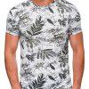 Balti-žali gėlėti vyriški marškinėliai internetu pigiau S1445 19097-1