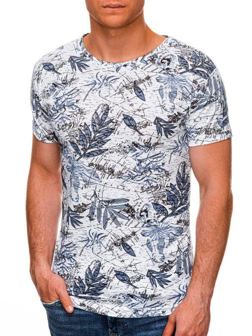 Balti-mėlyni gėlėti vyriški marškinėliai internetu pigiau S1445 19098-1