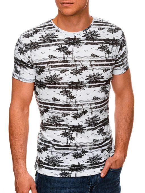 Juodi vyriški marškinėliai su palmėmis internetu pigiau S1446 19099-1