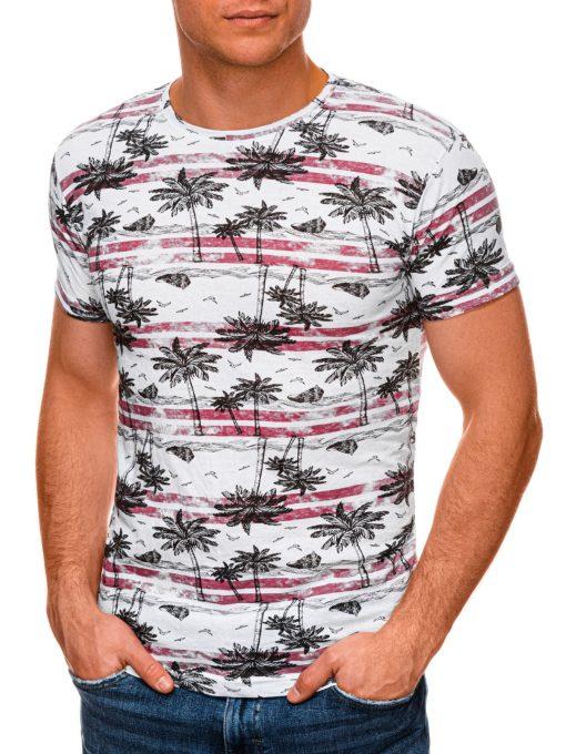 Raudoni vyriški marškinėliai su palmėmis internetu pigiau S1446 19100-4