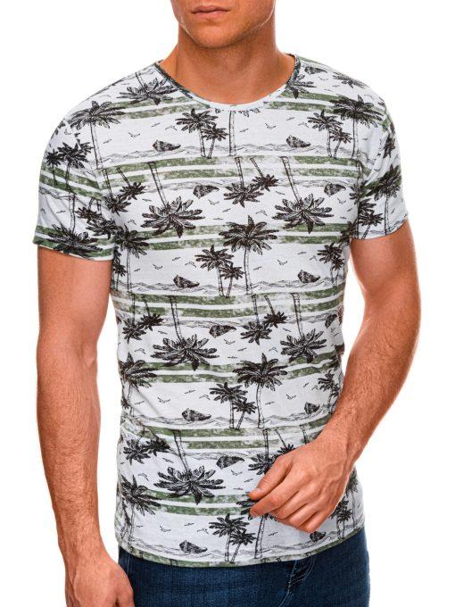 Žali vyriški marškinėliai su palmėmis internetu pigiau S1446 19101-1