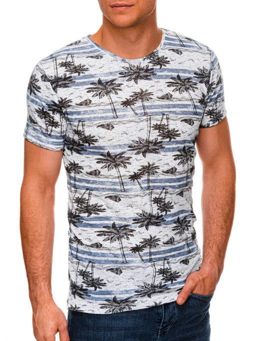 Mėlyni vyriški marškinėliai su palmėmis internetu pigiau S1446 19102-1