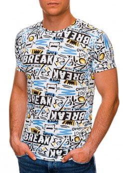 Balti vyriški marškinėliai su užrašais internetu pigiau S1447 19103-1