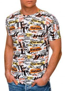 Balti vyriški marškinėliai su užrašais internetu pigiau S1449 19105-1