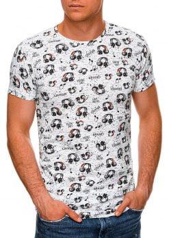 Balti vyriški marškinėliai su užrašais internetu pigiau S1450 19107-1