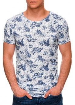 Mėlyni marginti vyriški marškinėliai internetu pigiau S1451 19108-1