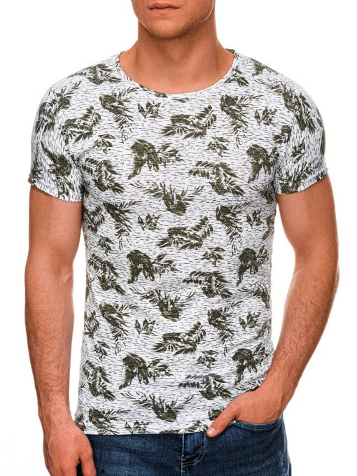 Žali marginti vyriški marškinėliai internetu pigiau S1451 19109-1
