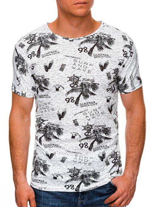 Balti vyriški marškinėliai su paveiksliukais internetu pigiau S1452 19116-1