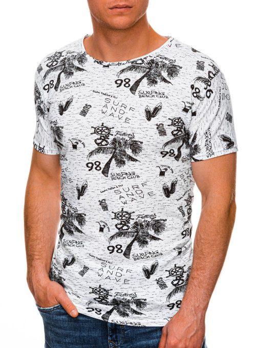 Balti vyriski marskineliai su paveiksliukais internetu pigiau S1452 19116-2